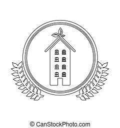 milieu, thuis, symbool, beeld, care