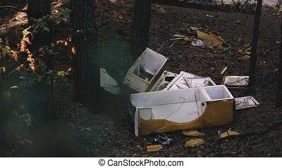 milieu, trash., déchets, jeté, forest.