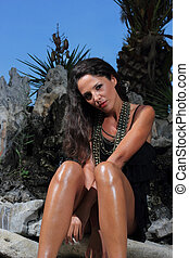 milieu, tropische , model, jonge, sexy