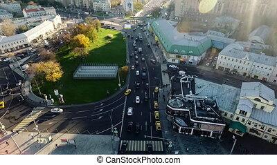 milieu, urbanscape, détourné, ensoleillé, trafic, vue, ...