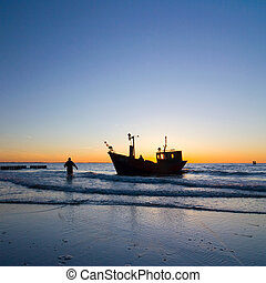 milieu, visser, hemel, ondergaande zon , scheepje