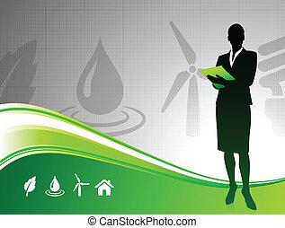 milieu, vrouw, groene achtergrond, zakelijk