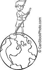 milieu, wereld, trekken, schoonmaken, hand
