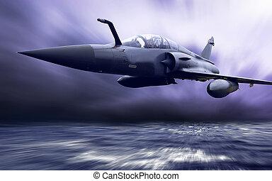 militär, airplan, på, den, hastighet
