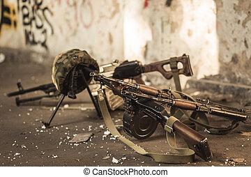 militär, automatisk, vapen