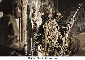 militär, beväpnat, tjäna som soldat