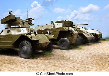 militär, bilar, på arbete