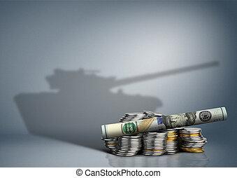 militär, budget, begrepp, pengar, med, vapen, skugga