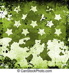 militär, grunge, med, stjärnor
