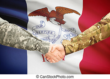 militär, handslag, och, amerikansk tillstånd flagg, -, iowa