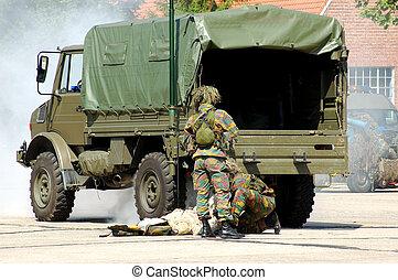 militär, intervention, såradt, solder.