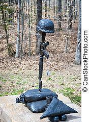 militär, järn, staty