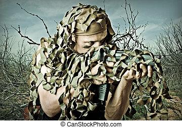 militär, kamouflera, man, med, automatisk