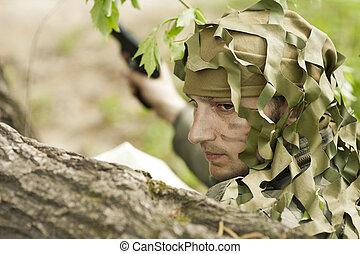 militär, kamouflera, man
