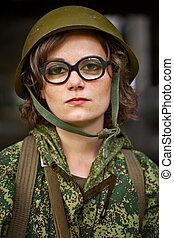 militär, kvinna, likformig
