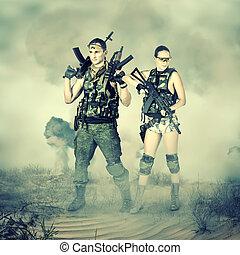 militär, kvinna, man