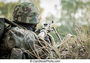 militär, manöver, tagande, del, soldat
