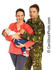 militär, man, och, hans, familj