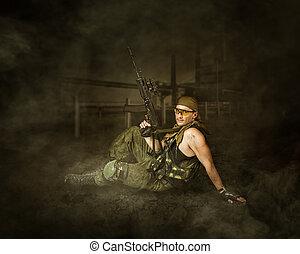 militär, man, soldat, holdingen, automatisk