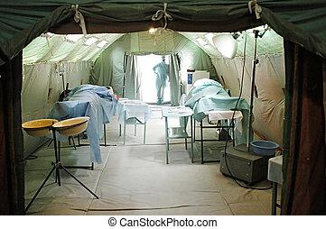 militär, mobil, sjukhus