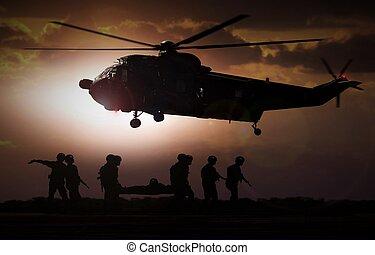 militär, räddning helikopter, under, solnedgång