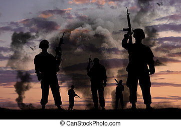 militär, silhouettes, vapen, tjäna som soldat