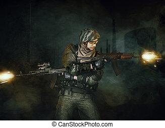 militär, skjutning, man, soldat