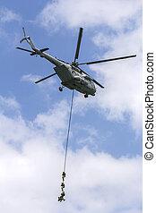 militär, speciell tvingar, med, a, helikopter