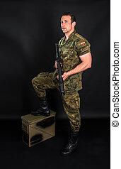 militär, svart, bakgrund, spansk