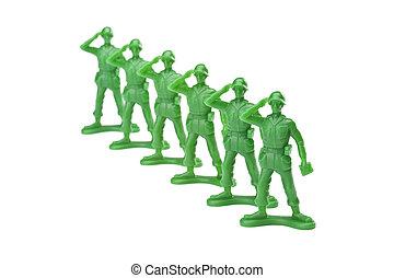 militär, tjäna som soldat, på, hälsning, gest