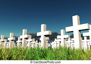 militär, under, sky, kyrkogård