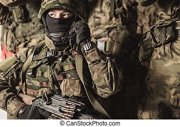 militär, utbildning, folk, jord