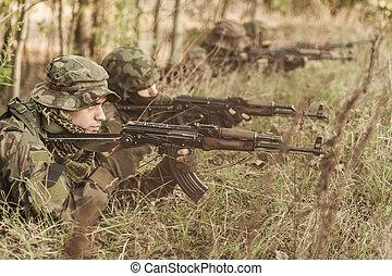 militär, utbildning, jord