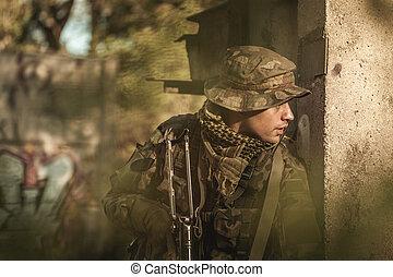 militär, utbildning, utomhus