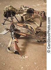 militär, utrustning, på det slipat
