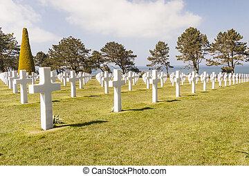 militärischer friedhof, -, omaha, sandstrand, normandie, france.