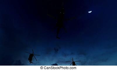 militärischer hubschrauber, bildung, fliegt, oben,...