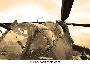 militärischer hubschrauber, cockpit., sepia.