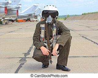 militärischer pilot, in, a, helm, bei, der, flugzeug