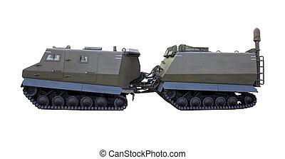 militärisches fahrzeug, weiß, hintergrund, und, anhänger
