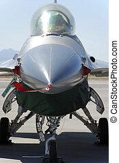 militärisches flugzeug, kämpfer, textanzeige, boden