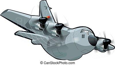 militärisches flugzeug, karikatur