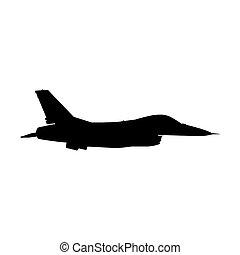militärisches flugzeug, silhouette.