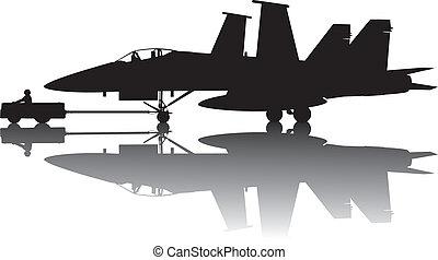militärisches flugzeug, silhouette