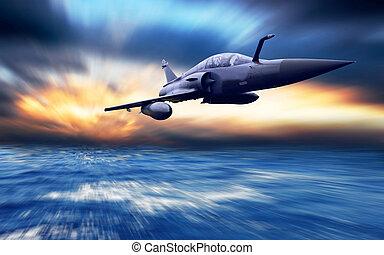 militärisk flygmaskin, på, den, hastighet