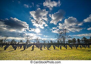 militärisk kyrkogård, och, skyn