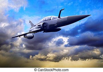 militær, airplan, på, den, hastighed