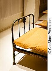 militær, bunker, seng
