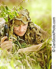 militær, camouflaged, mand