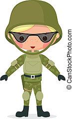 militær, cartoon, dreng